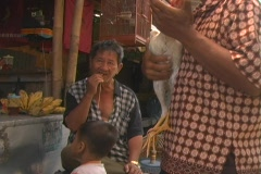Man pets rooster in bird market Stock Footage