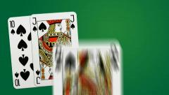 Poker win combination - two different playing cards animations Stock Footage