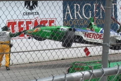 "Long Beach Grand Prix  ""Herdez"" vintage formula car cleanup after wreck Stock Footage"