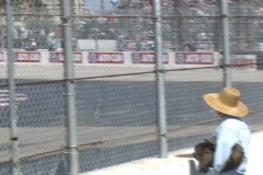 Motor Sports LBGP 2003 vintage formula cars around an S curve Stock Footage