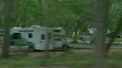 Campground drive by (interlaced) Stock Footage