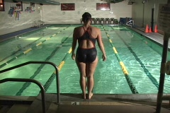 INDOOR LAP POOL SWIMMER Stock Footage