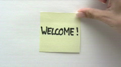 Welcome Note Stock Footage