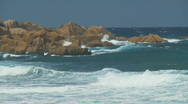 Rough sea on la digue Stock Footage