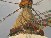 Stupa Eyes and flags Stock Footage