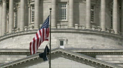 Utah State Capital zoom out from flags P HD Stock Footage