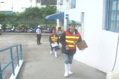 Workers entering the factory Stock Footage