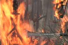 flames from house fire - stock footage