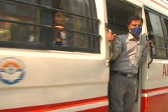 Kathmandu bus with boy Stock Footage