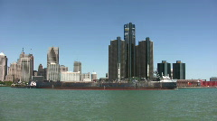 Barge on the detroit river Stock Footage