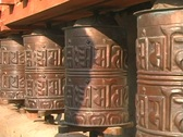 Close up prayer wheels spinning Stock Footage