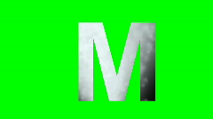 """""""M"""" Chromakey Green Screen Animated Fire Snow Water Explosion Lettering Stock Footage"""