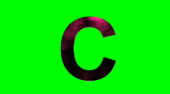 """""""C"""" Chromakey Green Screen Animated Fire Snow Water Explosion Lettering Stock Footage"""