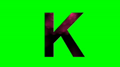 """K"" Chromakey Green Screen Animated Fire Snow Water Explosion Lettering - stock footage"