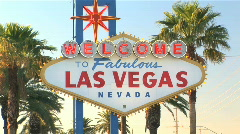 Welcome to Las Vegas sign on the Strip in Nevada Stock Footage