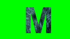 """M"" Chromakey Green Screen Animated Fire Snow Water Explosion Lettering - stock footage"