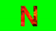 """N"" Chromakey Green Screen Animated Fire Snow Water Explosion Lettering - stock footage"