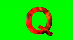 """Q"" Chromakey Green Screen Animated Fire Snow Water Explosion Lettering - stock footage"