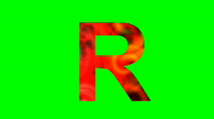 "Stock Video Footage of ""R"" Chromakey Green Screen Animated Fire Snow Water Explosion Lettering"