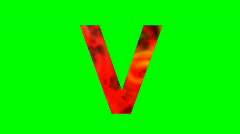 "Stock Video Footage of ""V"" Chromakey Green Screen Animated Fire Snow Water Explosion Lettering"