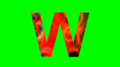 """W"" Chromakey Green Screen Animated Fire Snow Water Explosion Lettering - stock footage"