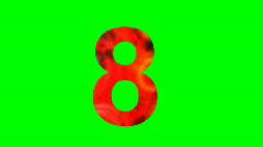 "Stock Video Footage of ""8"" Chromakey Green Screen Animated Fire Snow Water Explosion Lettering"