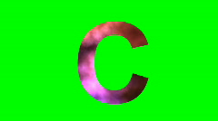 """C"" Chromakey Green Screen Animated Fire Snow Water Explosion Lettering - stock footage"
