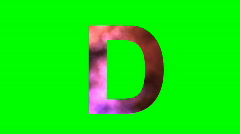"""D"" Chromakey Green Screen Animated Fire Snow Water Explosion Lettering - stock footage"