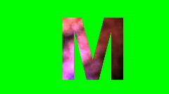 "Stock Video Footage of ""M"" Chromakey Green Screen Animated Fire Snow Water Explosion Lettering"