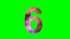 "Stock Video Footage of ""6"" Chromakey Green Screen Animated Fire Snow Water Explosion Lettering"