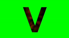 """V"" Chromakey Green Screen Animated Fire Snow Water Explosion Lettering - stock footage"