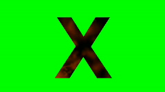 """X"" Chromakey Green Screen Animated Fire Snow Water Explosion Lettering - stock footage"