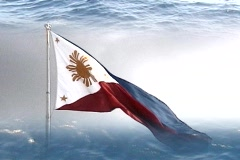 Philippines flag with water up and down Stock Footage