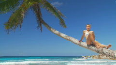 Relaxing on palmtree close  Stock Footage