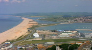 Stock Video Footage of View over Chesil Beach, Weymouth Bay and Portland in Dorset England