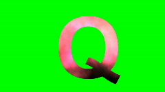 """""""Q"""" Chromakey Green Screen Animated Fire Snow Water Explosion Lettering Stock Footage"""