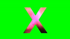 """""""X"""" Chromakey Green Screen Animated Fire Snow Water Explosion Lettering Stock Footage"""