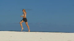 Following female athlete Stock Footage