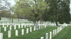 Pan of headstones at Arlington National Cemetery - stock footage