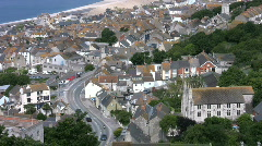 View over the houses of Fourtuneswell in Portland in Dorset England - stock footage