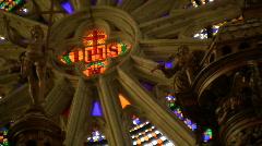 Stained glass window of Cathédrale Saint-Nazaire-et-Saint-Celse de Béziers Stock Footage