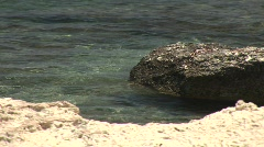 Costal waters lapping against the rocks Stock Footage