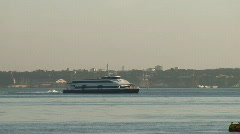 Fast catamaran ferry Stock Footage