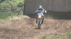 Motorcycle dirt ride towards M HD Stock Footage