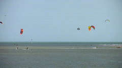 Sea water sport para-kite-surfing at Exmouth Devon England - stock footage