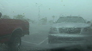 Stock Video Footage of Parking Lot In A Rainstorm