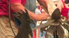 Jm520-Metal SculturesPeople3 Stock Footage