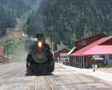 train arriving in Silverton - stock footage