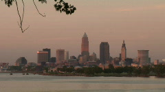 Stock Video Footage of Cleveland, Ohio: Timelapse Sunset on City