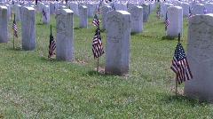 Memorial Day Vet Cem flags M HD Stock Footage